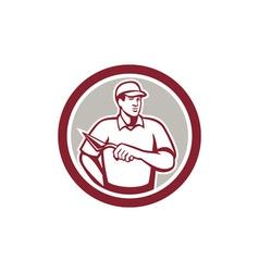 Tiler plasterer mason masonry worker circle vector