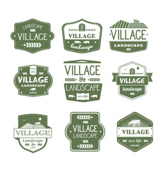 village life - vintage set of logos vector image