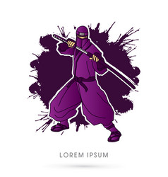 violet ninja and sword vector image vector image