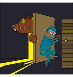Warewolf in the house cartoon vector