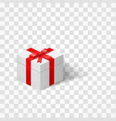 white box with a bow tied with ribbon isolated on vector image vector image