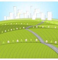 01 Eco Roads City landscape vector image vector image