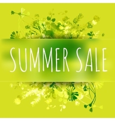 Summer sale watercolor background with leaves and vector