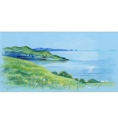 Watercolor river natural landscape vector