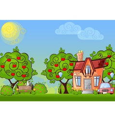 background cartoon house vector image
