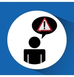Silhouette man road sign warning vector