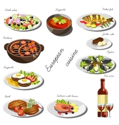 European cousine set collection of food dishes vector
