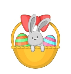 Easter bunny basket icon cartoon style vector