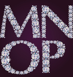 Alphabet of diamonds mnop vector