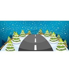 A hill covered with snow with a narrow road vector
