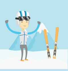 Cheerful skier standing with raised hands vector