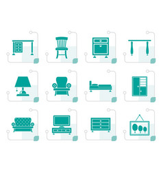 Stylized home equipment and furniture icons vector