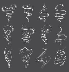 Smoke steam set smell and fumes line icons vector