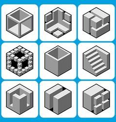 cube icon set 2 vector image