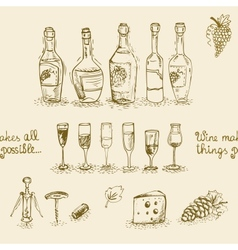 Set of wine bottles and glasses vector