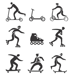 Scooter inline skateboard black icons vector