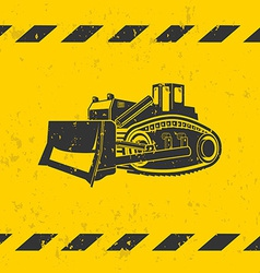 Bulldozer on yellow background vector