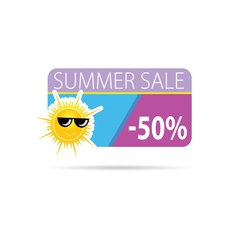 Sun with summer sale vector