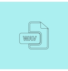 Wav audio file extension icon vector