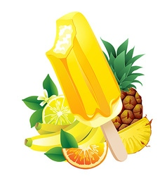 Tropical fruits banana pineapple orange lemon vector