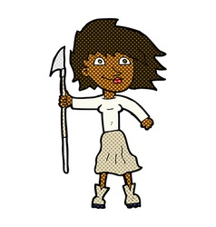 Comic cartoon woman with spear vector
