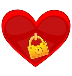 Heart locked on golden lock vector