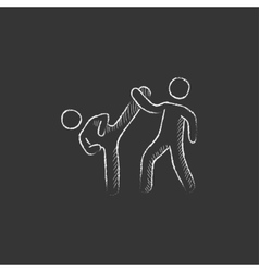 Karate fighters drawn in chalk icon vector