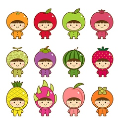 Set of kids in cute fruits costumes vector