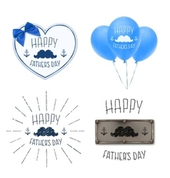 Set of four fathers day backgrounds vector