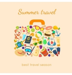 Summer holidays things in a suitcase shape vector image