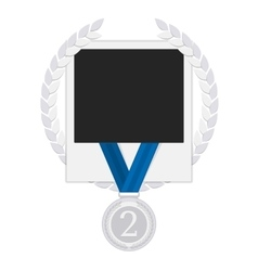 Photo frame with silver medal vector image