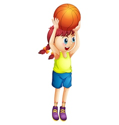 A young female basketball player vector
