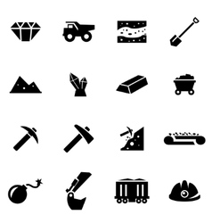 Black mining icon set vector