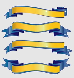 Blue and gold ribbons vector image vector image