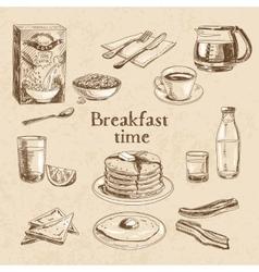 breakfast hand drawn set vector image vector image