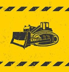 Bulldozer on yellow background vector