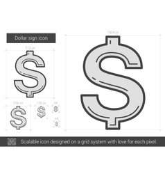 Dollar sign line icon vector image vector image