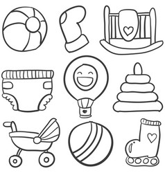 Doodle of baby toys set vector