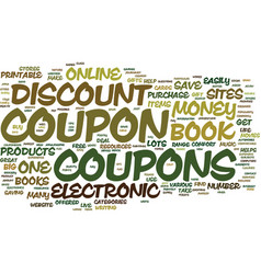Electronic discount coupon book text background vector