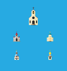Flat icon building set of traditional religious vector