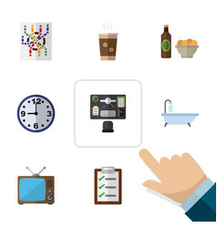 Flat icon oneday set of beer with chips router vector