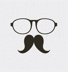 glasses and mustache hipster style isolated icon vector image