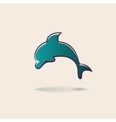 Green dolphin hand drawn sign vector