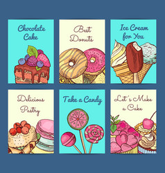 hand drawn colored sweets shop card or vector image