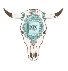 Hand drawn cow skull with ornamental frame vector
