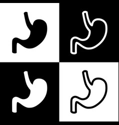 Human anatomy stomach sign black and vector