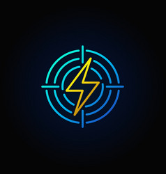 Lightning in target colorful icon vector