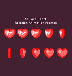 love valentine day 3d heart rotation animation vector image vector image