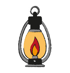 oil lamp camping related icon image vector image