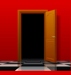 Open brown door with red wall and glossy chess vector